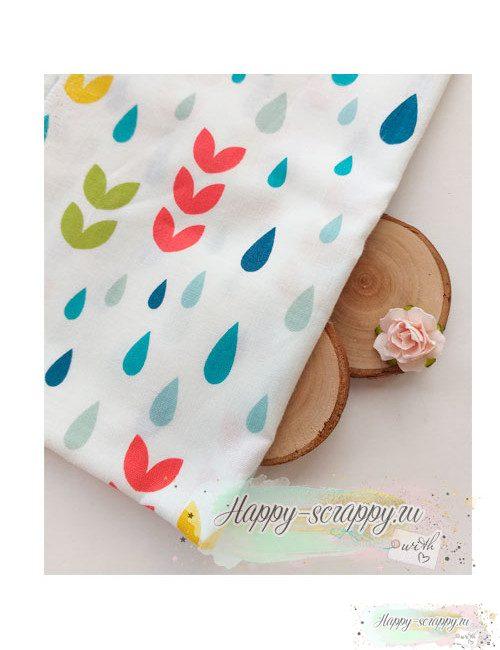 Ткань Капли и листья цветные