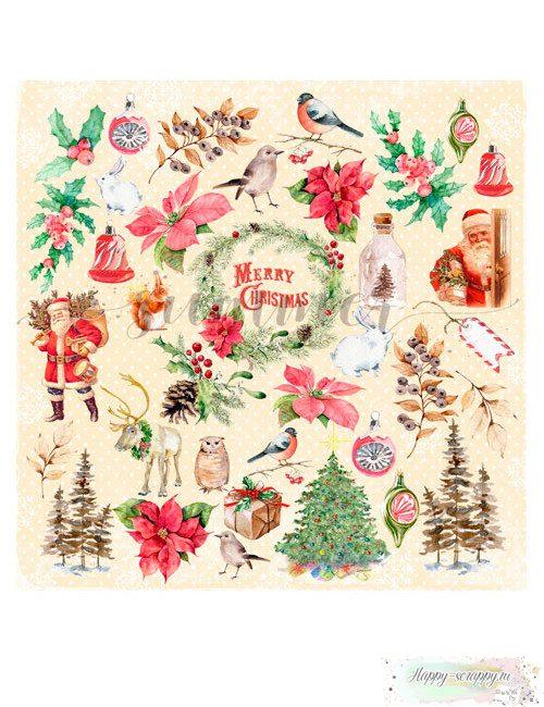 Бумага для скрапбукинга Christmas story - Для вырезания