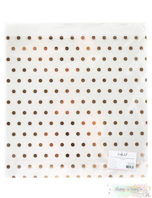 Прозрачный ацетатный лист (оверлей) с золотым фольгированием — В горошек