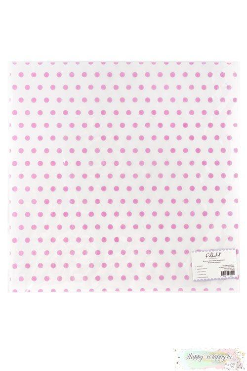 Веллум (калька) с флоковым напылением - Розовый горошек