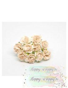 Кудрявые розы 2 см — белые (5 шт)