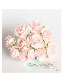 Кудрявые розы 2 см — розовоперсиковые светлые (5 шт)