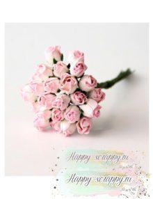 Бутоны роз мини полураскрытые св. розовый— белый (5 шт)