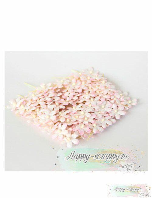 Цветочки маленькие 2 см — белый св. розовый (10 шт)