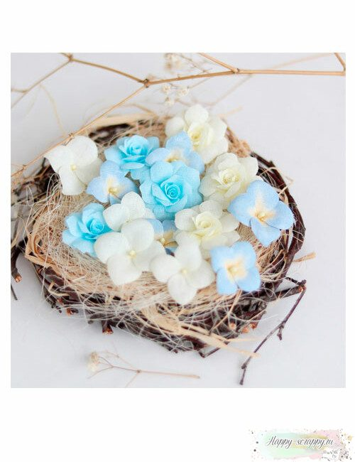Набор цветов Pastel flowers — Голубой-желтый № 3