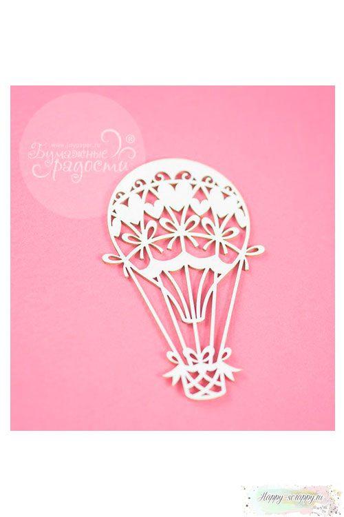 Чипборд Воздушный шар с сердечками