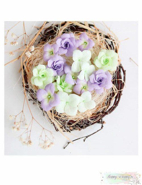 Набор цветов Pastel flowers — Сиреневый-салатовый № 2