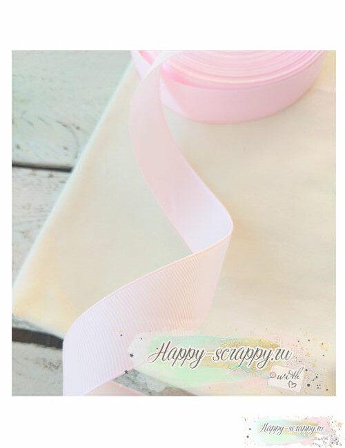 Лента репсовая - светло-розовая (холодный оттенок) (1 м)
