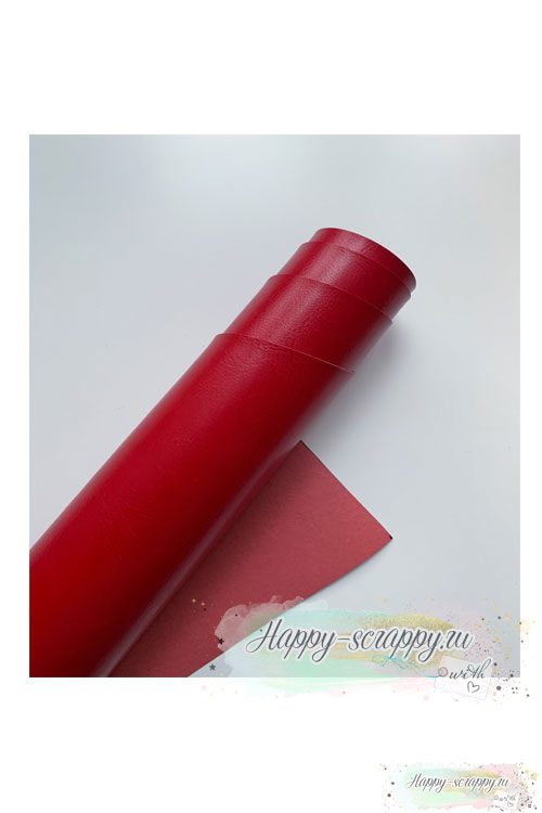 Переплетный кожзам - красный глянец