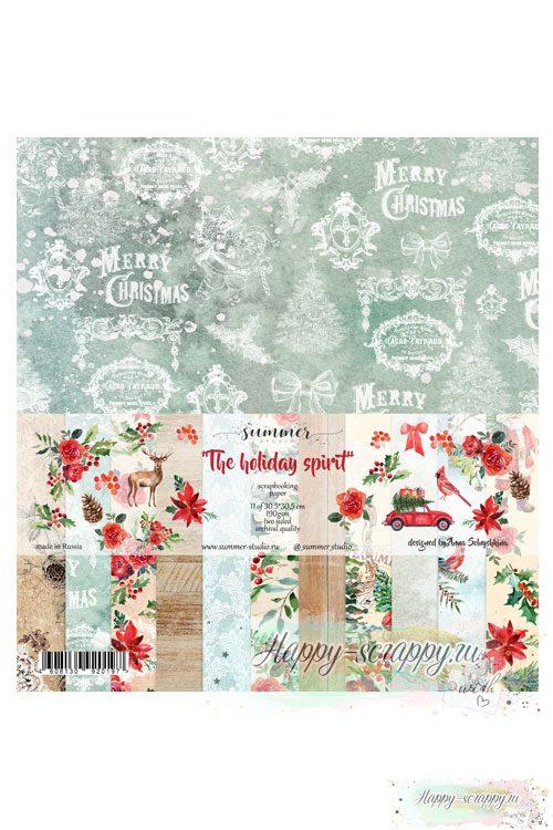 Набор двусторонней бумаги для скрапбукинга — The holiday spirit