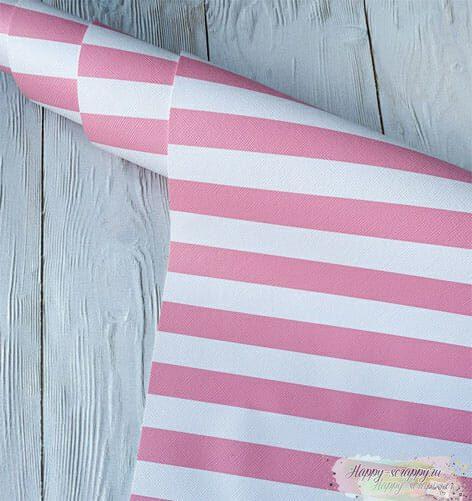 Кожзам-розовый-полосы