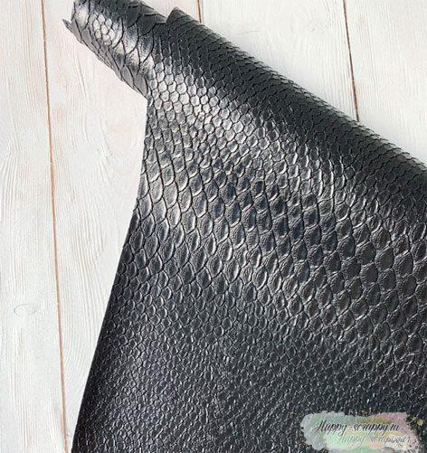 кожзам-рептилия-черный