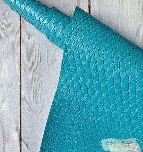 кожзам-рептилия-голубой