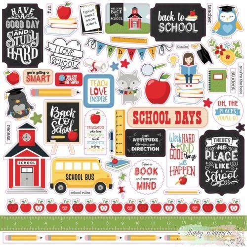 Лист наклеек SCHOOL RULES STICKER от Echo Park