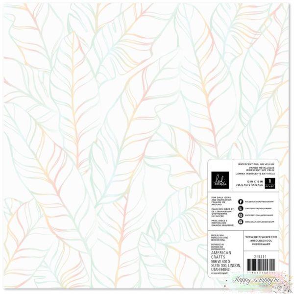 Калька Heidi Swapp Old School Specialty Paper серебрянные листья