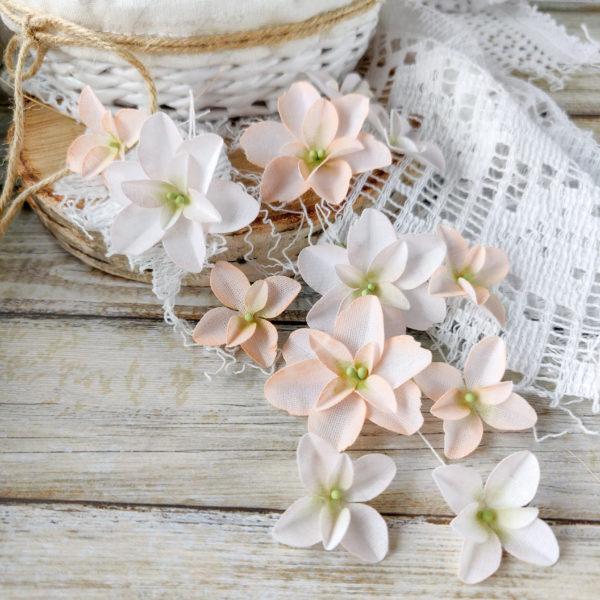 Набор цветов Pastel flowers — Гортензии Дуболистные, пудрово-персиковые