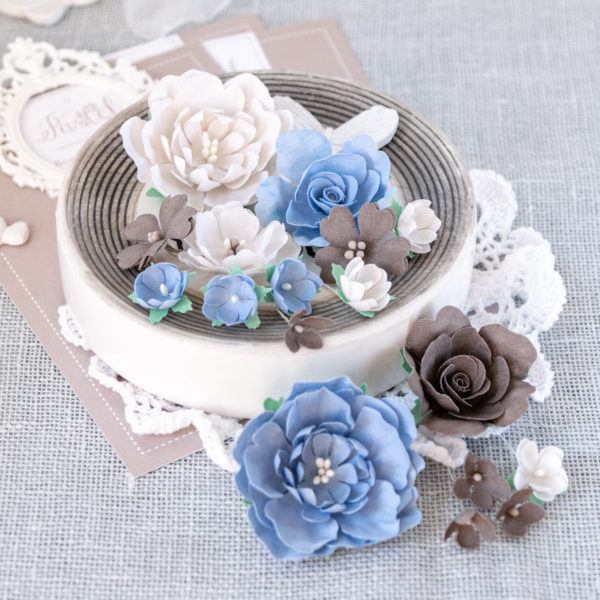 """Набор цветов Pastel flowers — """"Пионы и розы"""" бежево-синие"""