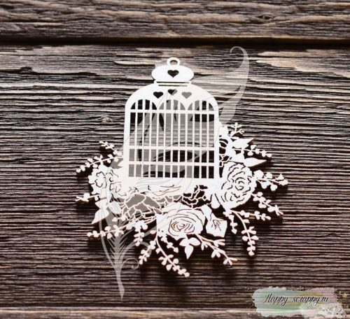 Чипборд из картона Клетка с цветами