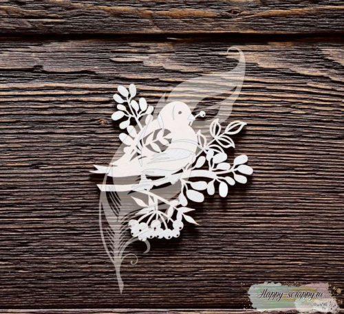 Чипборд из картона Снегирь на веточке