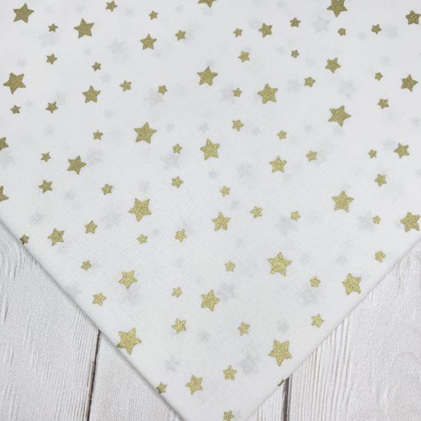 Ткань золотые звезды на белом