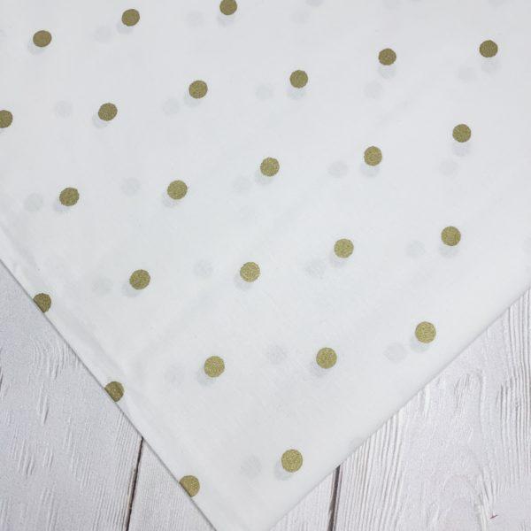 Ткань золотой горошек на белом