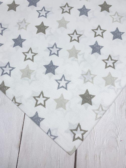 Ткань серо-бежевые звезды на белом