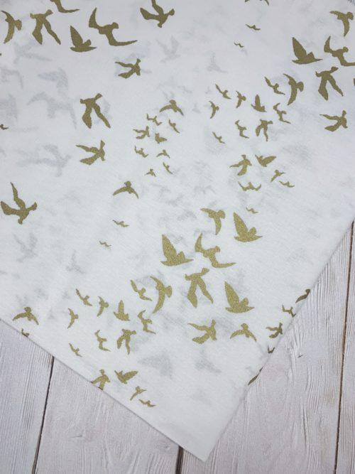 Ткань золотые птицы на белом