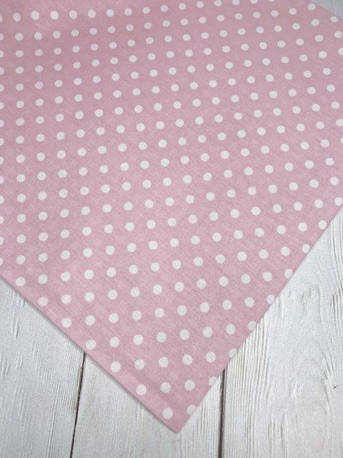 Ткань белый горошек на розовом