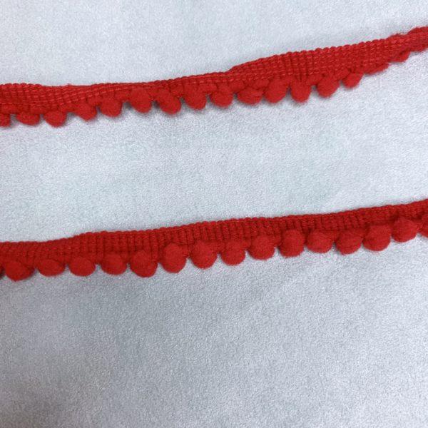 Лента мини помпон красный (45 см)