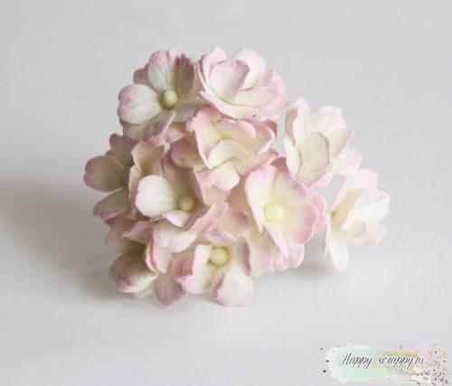 Цветы вишни средние светлые бело-розовые (5 шт)