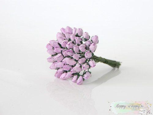 Бутоны роз средние закрытые - светло-сиреневые