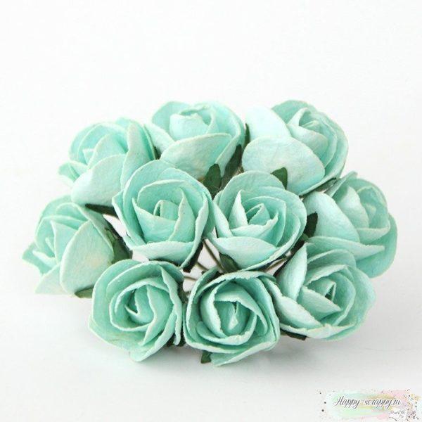Бутоны роз полу раскрытые большие мятные 1 шт.