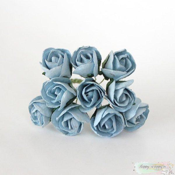 Бутоны роз полу раскрытые большие голубые 1 шт.