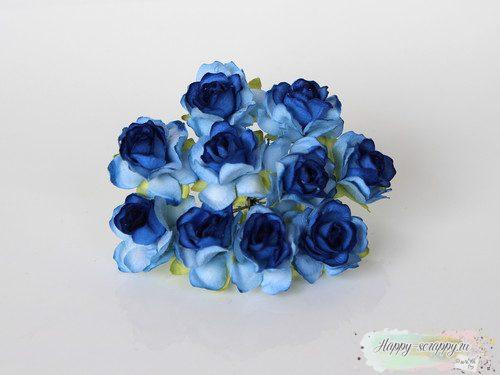 Кудрявые розы 3 см. Голубые 2х тоновые 1 шт.