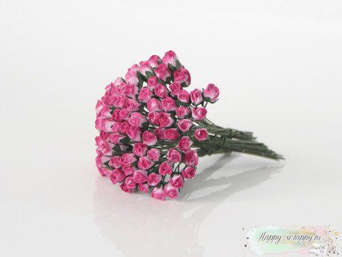 Микро бутоны роз - розовый и фуксия (10 шт)
