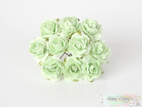 Кудрявые розы 2 см. Светло-зеленые 5шт.