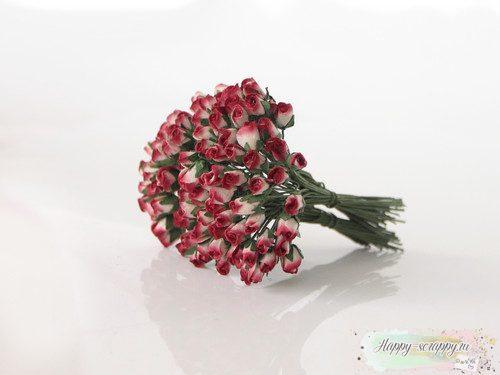 Микро бутоны роз - красно-белые (10 шт)