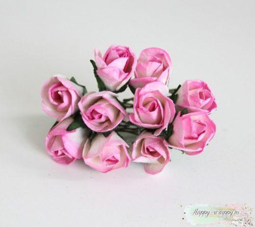 Бутоны роз полу раскрытые большие розово-белые 1 шт.