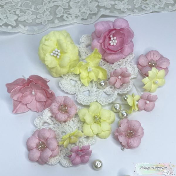 Мини набор цветов розово-желтый