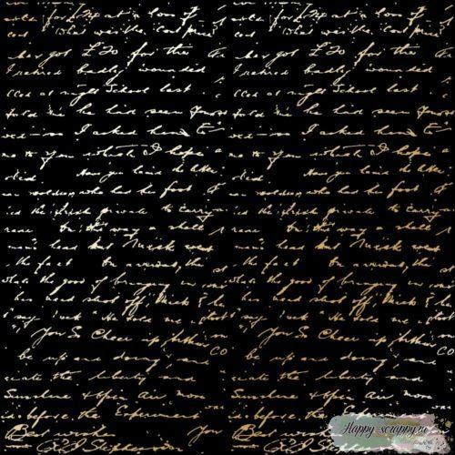 Лист односторонней бумаги с фольгированием Golden Text Black