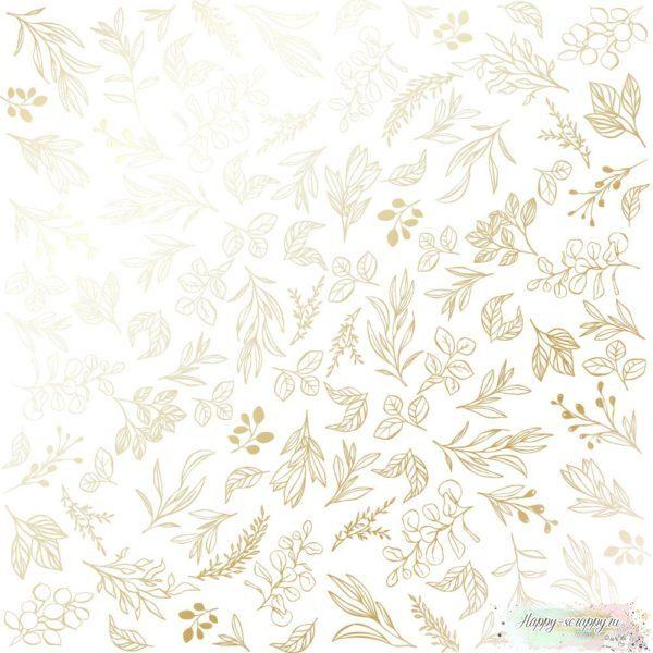 Лист односторонней бумаги с фольгированием Golden Branches White