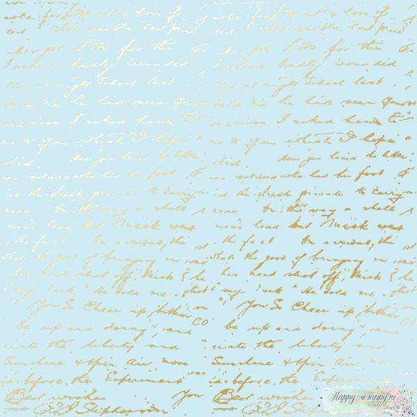 Лист односторонней бумаги с фольгированием Golden Text Blue