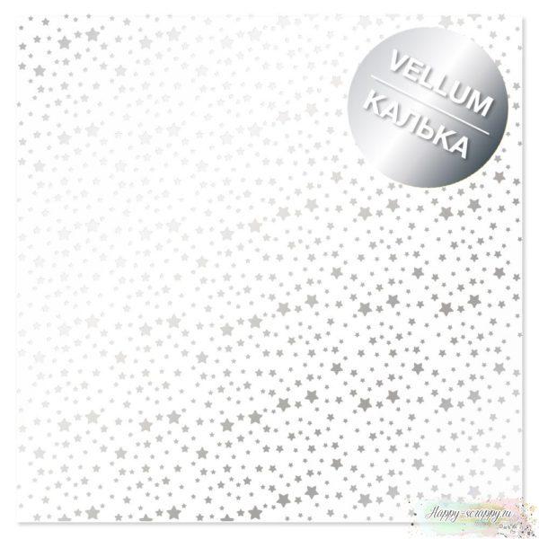 Лист кальки с фольгированием Silver Stars 30,5х30,5 см