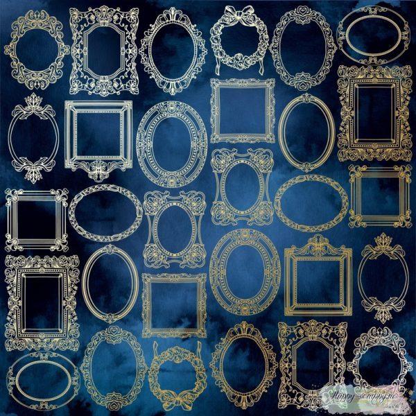 Лист односторонней бумаги с фольгированием Golden Frames Night garden