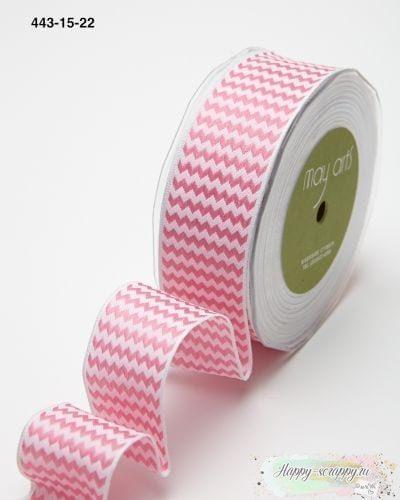 Лента зигзаг полосы - ярко-розовая