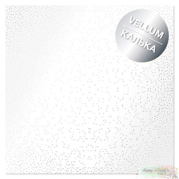 Лист кальки с фольгированием Silver Mini Drops 30,5х30,5 см