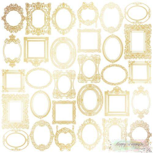 Лист односторонней бумаги с фольгированием Golden Frames White