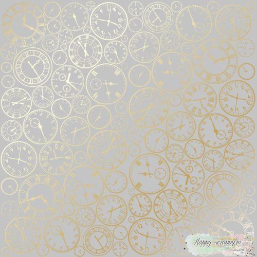 Лист односторонней бумаги с фольгированием Golden Clocks Gray