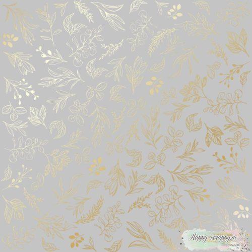 Лист односторонней бумаги с фольгированием Golden Branches Gray