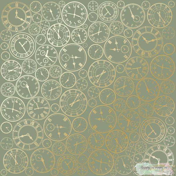 Лист односторонней бумаги с фольгированием Golden Clocks Olive